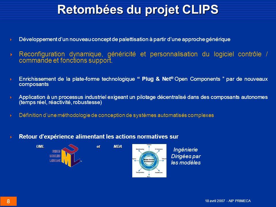 8 18 avril 2007 - AIP PRIMECA Retombées du projet CLIPS Développement dun nouveau concept de palettisation à partir dune approche générique Reconfigur