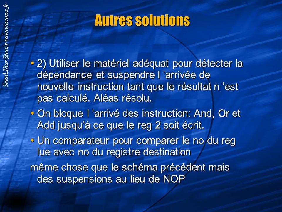 Smail.Niar@univ-valenciennes.fr Résoudre les aléas de données par des instructions sans effet (les NOP) IMReg sub $2, $1, $3 and $12, $2, $5 or $13, $