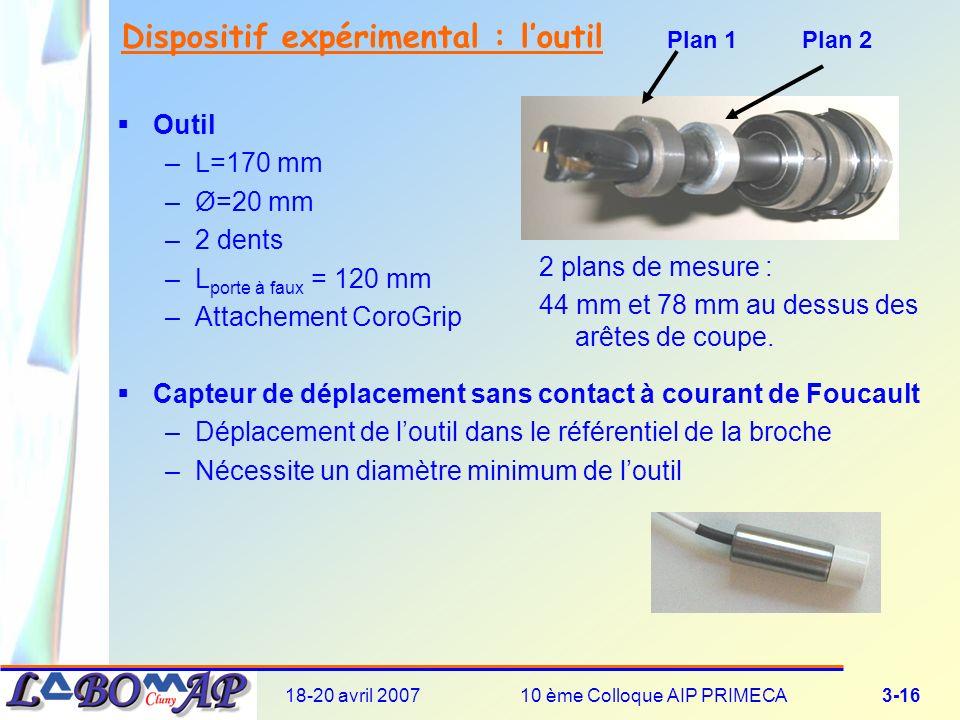 18-20 avril 200710 ème Colloque AIP PRIMECA3-16 Dispositif expérimental : loutil Outil –L=170 mm –Ø=20 mm –2 dents –L porte à faux = 120 mm –Attachement CoroGrip Capteur de déplacement sans contact à courant de Foucault –Déplacement de loutil dans le référentiel de la broche –Nécessite un diamètre minimum de loutil 2 plans de mesure : 44 mm et 78 mm au dessus des arêtes de coupe.