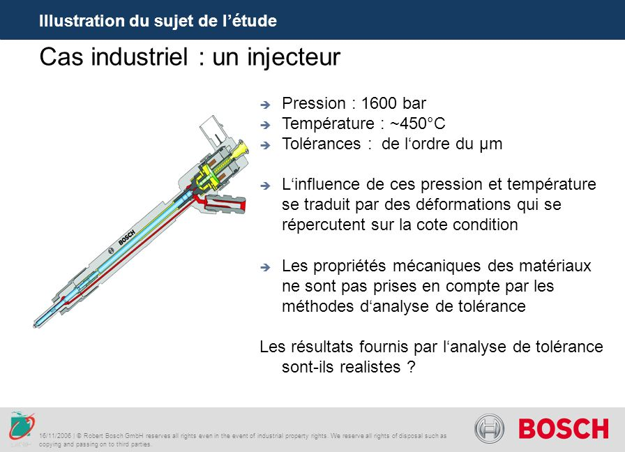 Cas industriel : un injecteur Illustration du sujet de létude 16/11/2006 | © Robert Bosch GmbH reserves all rights even in the event of industrial property rights.