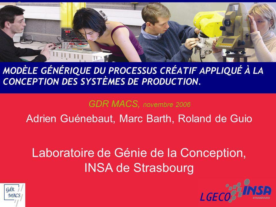 MODÈLE GÉNÉRIQUE DU PROCESSUS CRÉATIF APPLIQUÉ À LA CONCEPTION DES SYSTÈMES DE PRODUCTION. GDR MACS, novembre 2006 Adrien Guénebaut, Marc Barth, Rolan