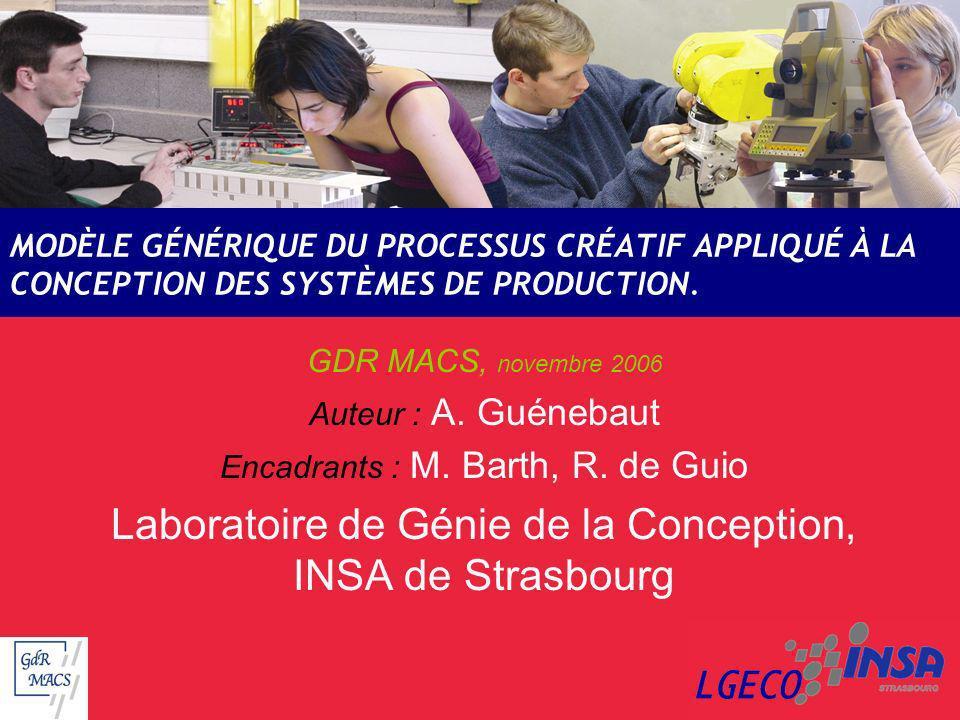 MODÈLE GÉNÉRIQUE DU PROCESSUS CRÉATIF APPLIQUÉ À LA CONCEPTION DES SYSTÈMES DE PRODUCTION. GDR MACS, novembre 2006 Auteur : A. Guénebaut Encadrants :