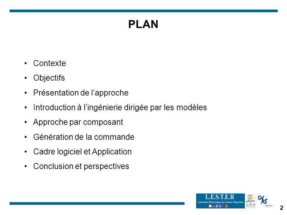 FRE 2734 2 PLAN Contexte Objectifs Présentation de lapproche Introduction à lingénierie dirigée par les modèles Approche par composant Génération de la commande Cadre logiciel et Application Conclusion et perspectives