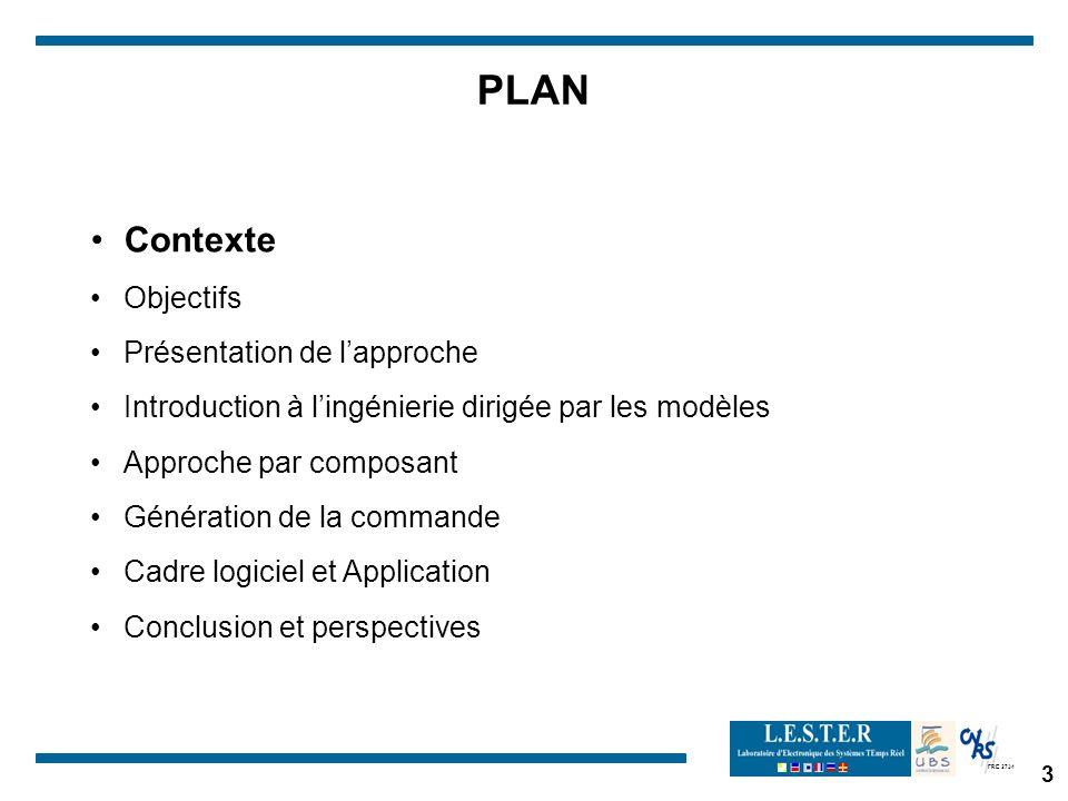 FRE 2734 3 PLAN Contexte Objectifs Présentation de lapproche Introduction à lingénierie dirigée par les modèles Approche par composant Génération de la commande Cadre logiciel et Application Conclusion et perspectives