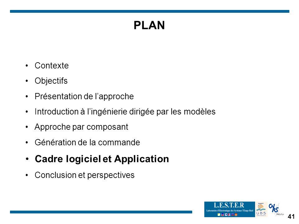 FRE 2734 41 PLAN Contexte Objectifs Présentation de lapproche Introduction à lingénierie dirigée par les modèles Approche par composant Génération de la commande Cadre logiciel et Application Conclusion et perspectives