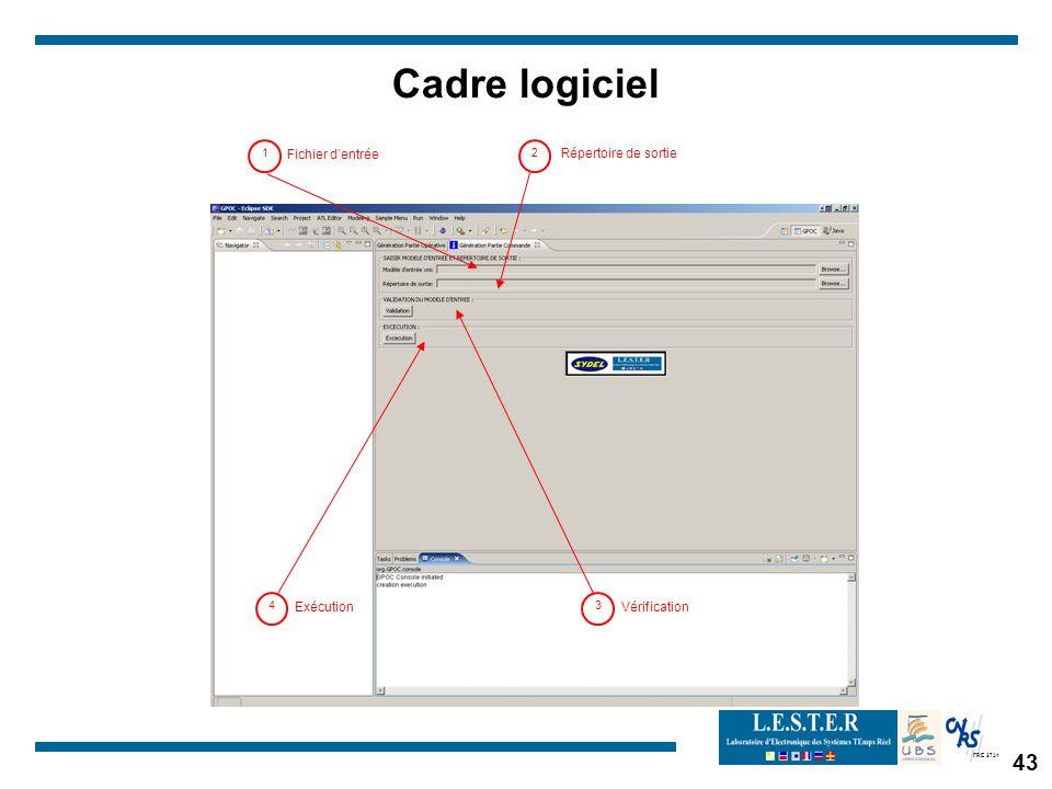 FRE 2734 1 Fichier dentrée 2 Répertoire de sortie 3 Vérification 4 Exécution Cadre logiciel 43