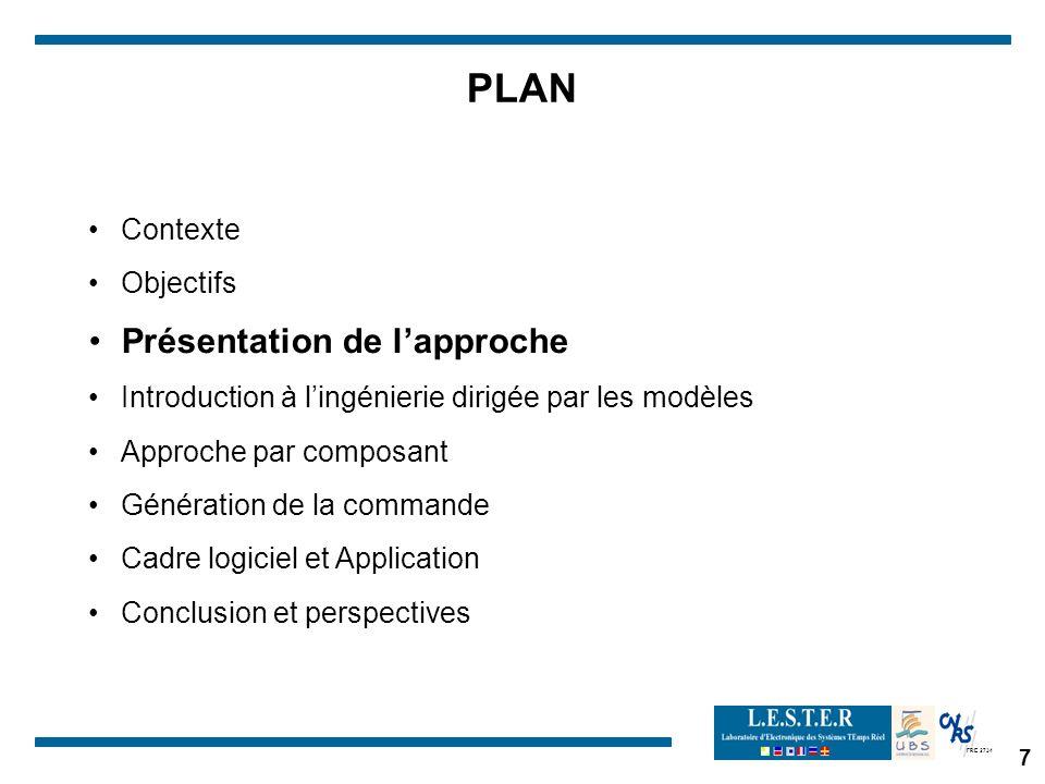 FRE 2734 7 PLAN Contexte Objectifs Présentation de lapproche Introduction à lingénierie dirigée par les modèles Approche par composant Génération de l