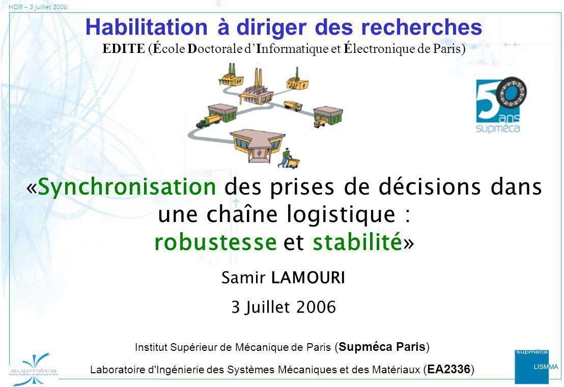 HDR – 3 juillet 2006 «Synchronisation des prises de décisions dans une chaîne logistique : robustesse et stabilité» Habilitation à diriger des recherc