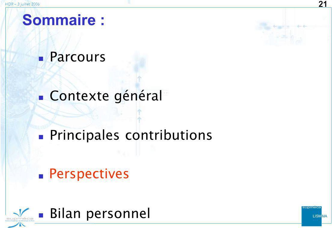 HDR – 3 juillet 2006 21 Sommaire : Parcours Contexte général Principales contributions Perspectives Bilan personnel Perspectives