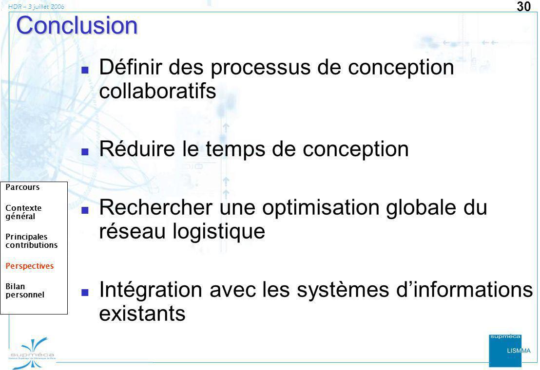 HDR – 3 juillet 2006 30 Conclusion Définir des processus de conception collaboratifs Réduire le temps de conception Rechercher une optimisation global