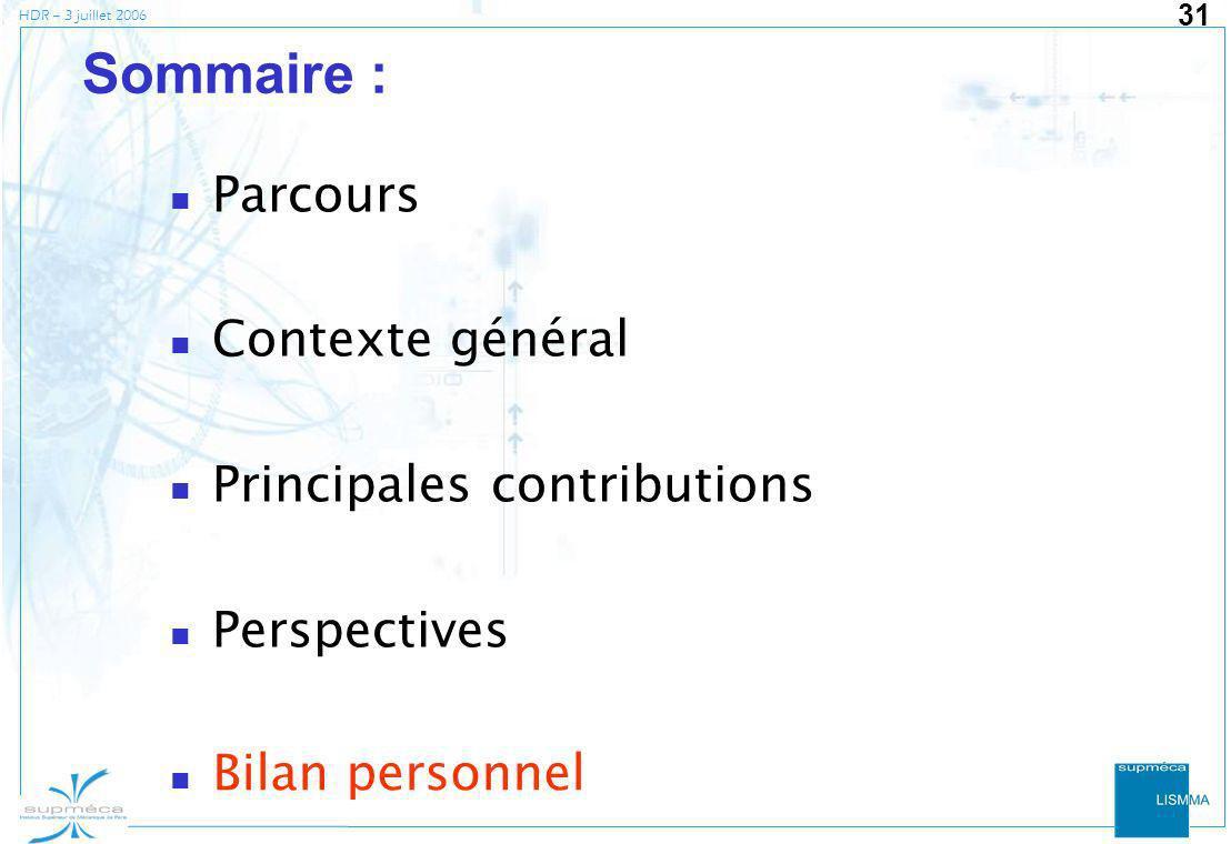 HDR – 3 juillet 2006 31 Sommaire : Parcours Contexte général Principales contributions Perspectives Bilan personnel