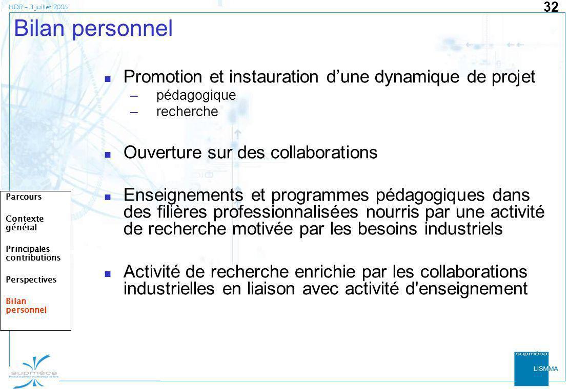 HDR – 3 juillet 2006 32 Bilan personnel Promotion et instauration dune dynamique de projet –pédagogique –recherche Ouverture sur des collaborations En