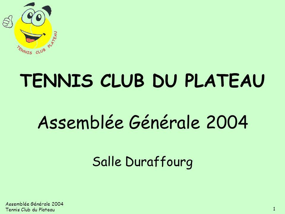 Assemblée Générale 2004 Tennis Club du Plateau 1 TENNIS CLUB DU PLATEAU Assemblée Générale 2004 Salle Duraffourg