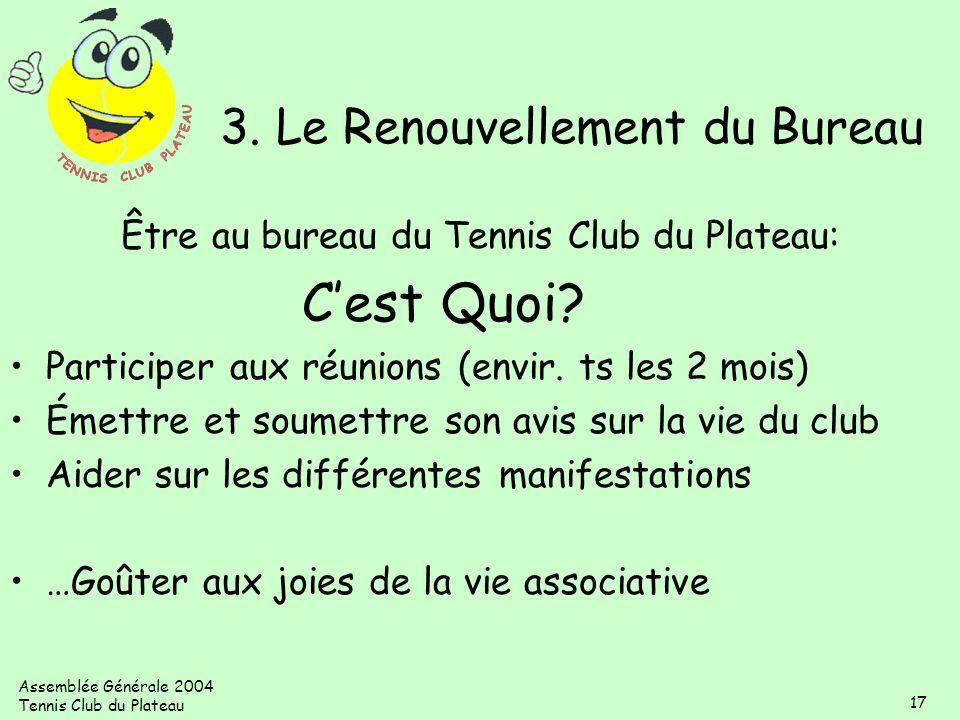 Assemblée Générale 2004 Tennis Club du Plateau 17 3. Le Renouvellement du Bureau Être au bureau du Tennis Club du Plateau: Cest Quoi? Participer aux r