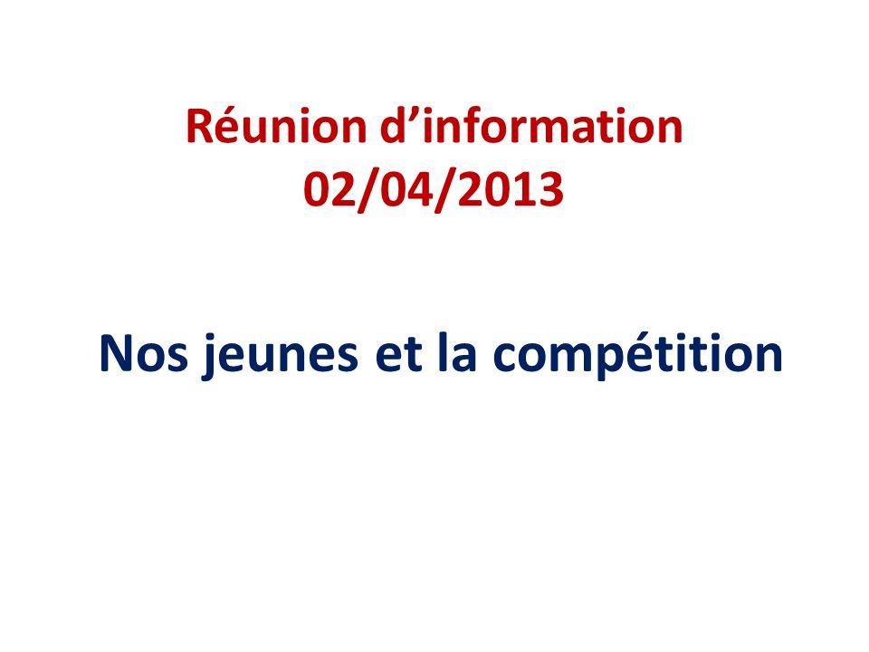 Réunion dinformation 02/04/2013 Nos jeunes et la compétition
