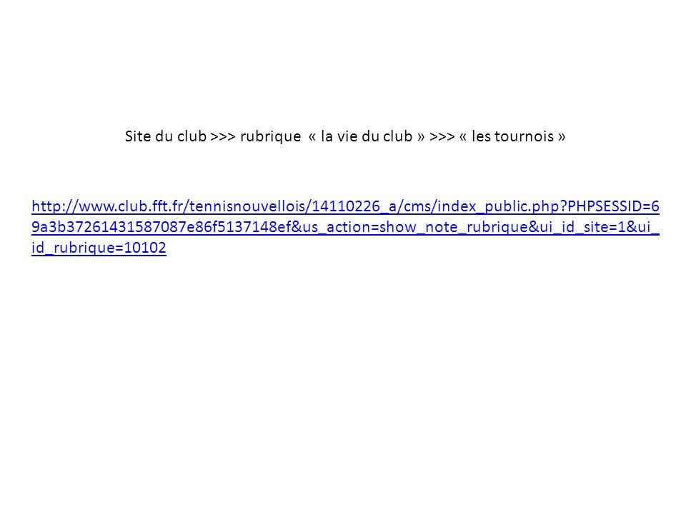 Site du club >>> rubrique « la vie du club » >>> « les tournois » http://www.club.fft.fr/tennisnouvellois/14110226_a/cms/index_public.php?PHPSESSID=6