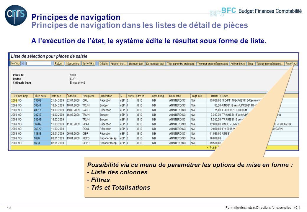 Formation Instituts et Directions fonctionnelles – v2.4 10 Principes de navigation Principes de navigation dans les listes de détail de pièces A lexéc