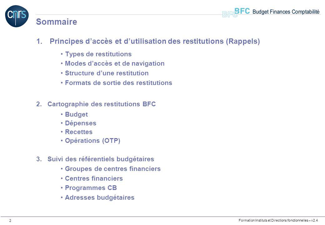 Formation Instituts et Directions fonctionnelles – v2.4 2 1. Principes daccès et dutilisation des restitutions (Rappels) Types de restitutions Modes d