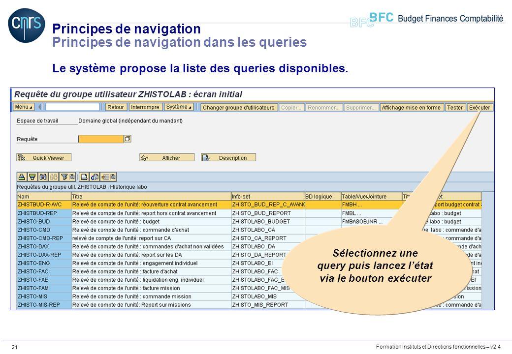 Formation Instituts et Directions fonctionnelles – v2.4 21 Principes de navigation Principes de navigation dans les queries Le système propose la list