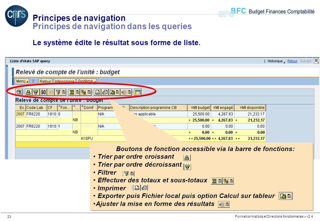Formation Instituts et Directions fonctionnelles – v2.4 23 Principes de navigation Principes de navigation dans les queries Le système édite le résult