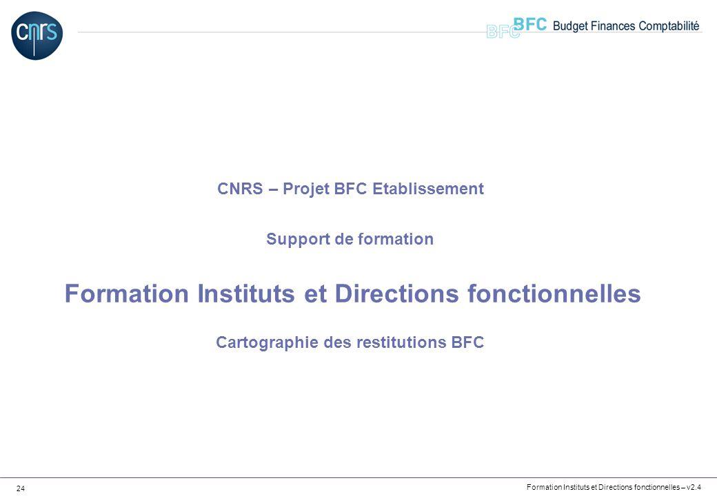 Formation Instituts et Directions fonctionnelles – v2.4 24 CNRS – Projet BFC Etablissement Support de formation Formation Instituts et Directions fonc