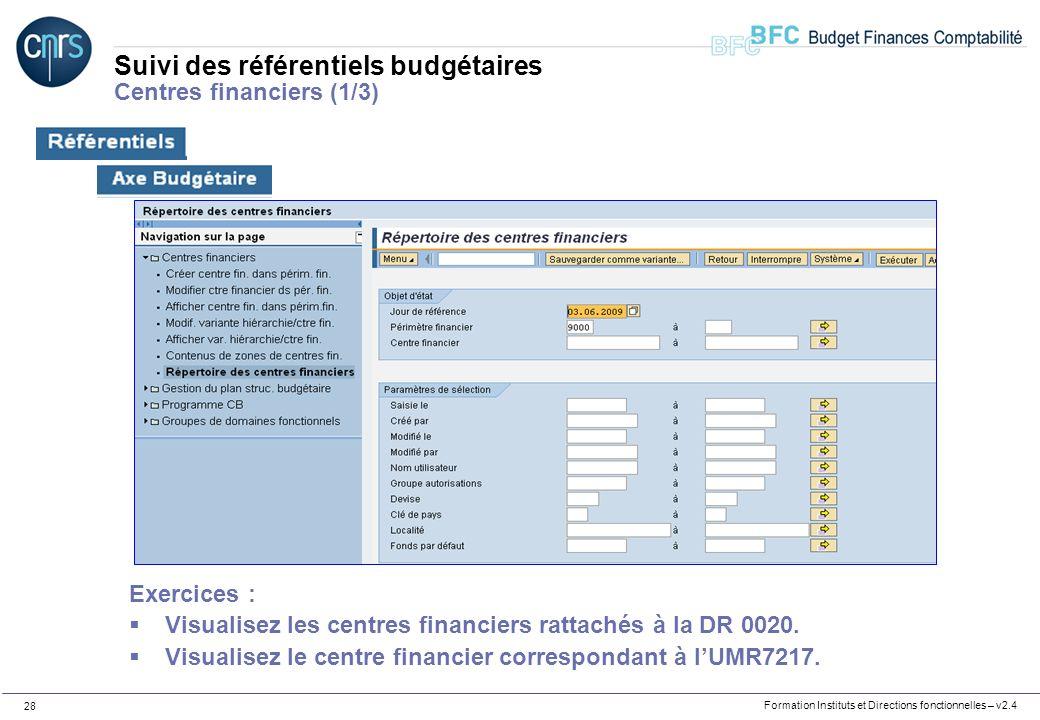 Formation Instituts et Directions fonctionnelles – v2.4 28 Suivi des référentiels budgétaires Centres financiers (1/3) Exercices : Visualisez les cent