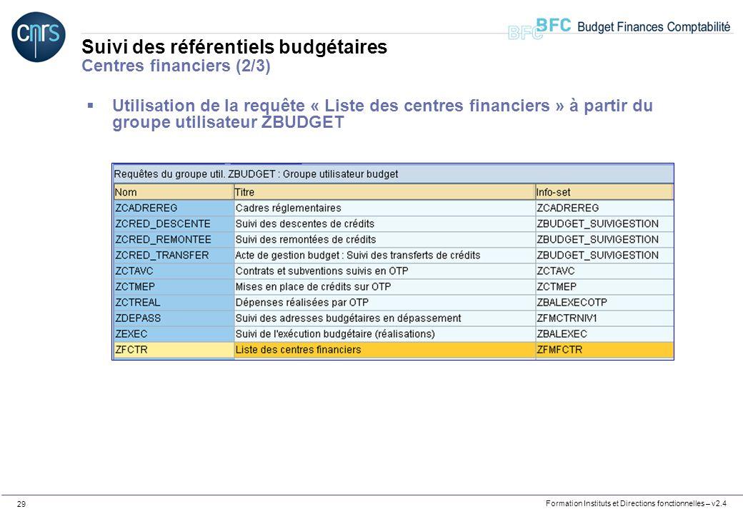 Formation Instituts et Directions fonctionnelles – v2.4 29 Suivi des référentiels budgétaires Centres financiers (2/3) Utilisation de la requête « Lis