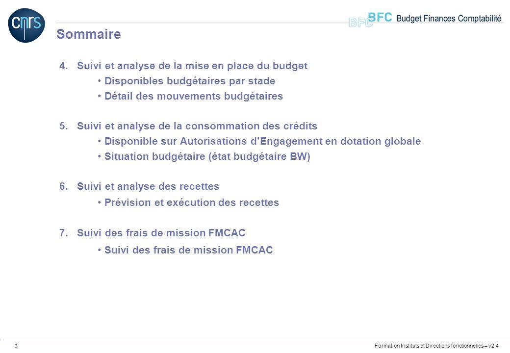 Formation Instituts et Directions fonctionnelles – v2.4 3 4.Suivi et analyse de la mise en place du budget Disponibles budgétaires par stade Détail de