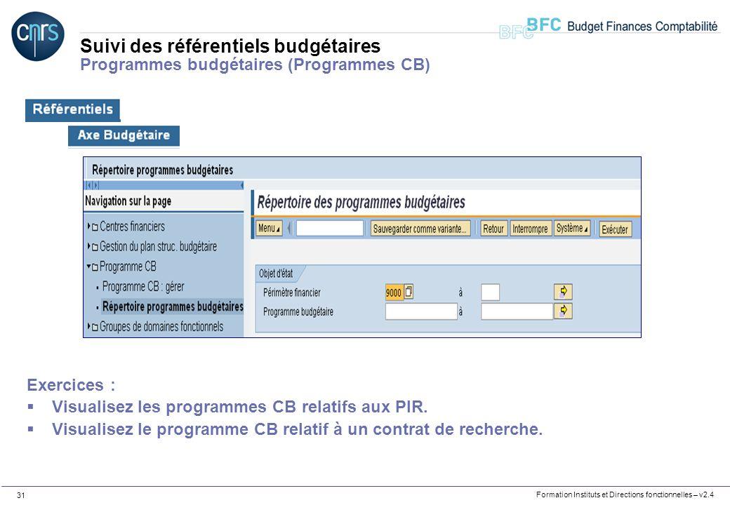 Formation Instituts et Directions fonctionnelles – v2.4 31 Suivi des référentiels budgétaires Programmes budgétaires (Programmes CB) Exercices : Visua