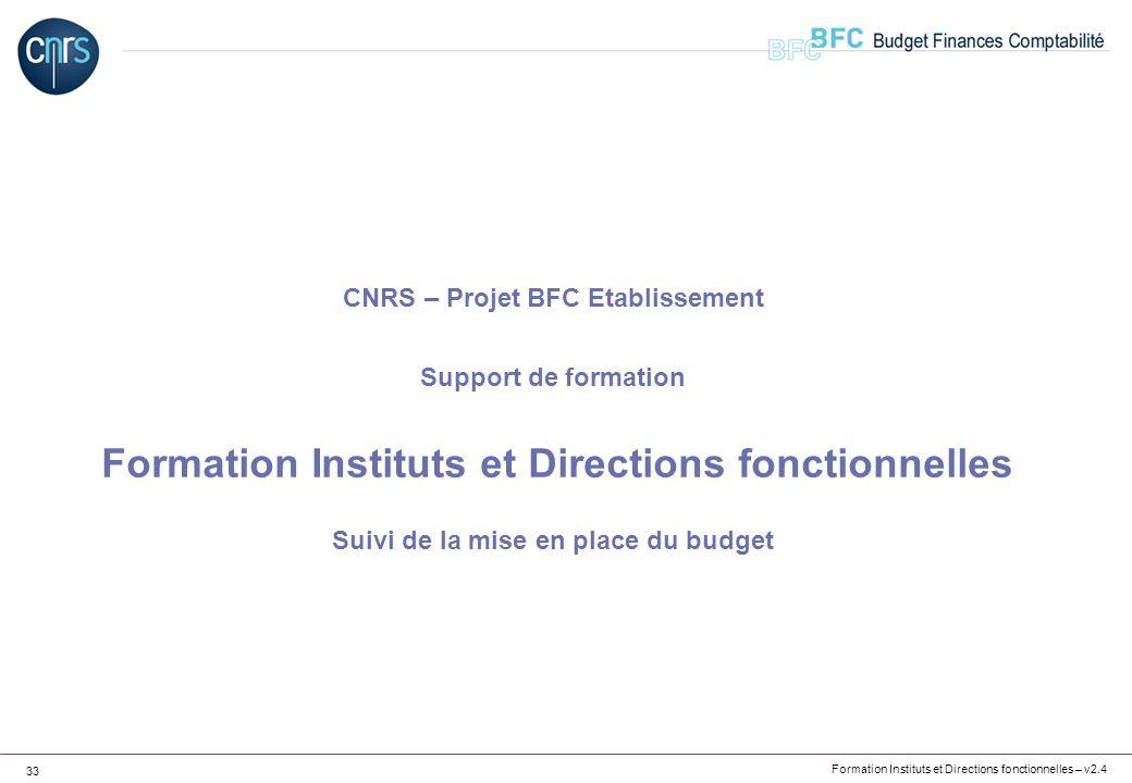Formation Instituts et Directions fonctionnelles – v2.4 33 CNRS – Projet BFC Etablissement Support de formation Formation Instituts et Directions fonc