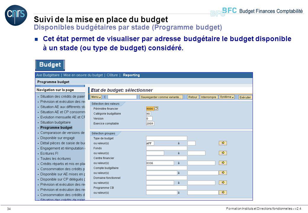 Formation Instituts et Directions fonctionnelles – v2.4 34 Suivi de la mise en place du budget Disponibles budgétaires par stade (Programme budget) n