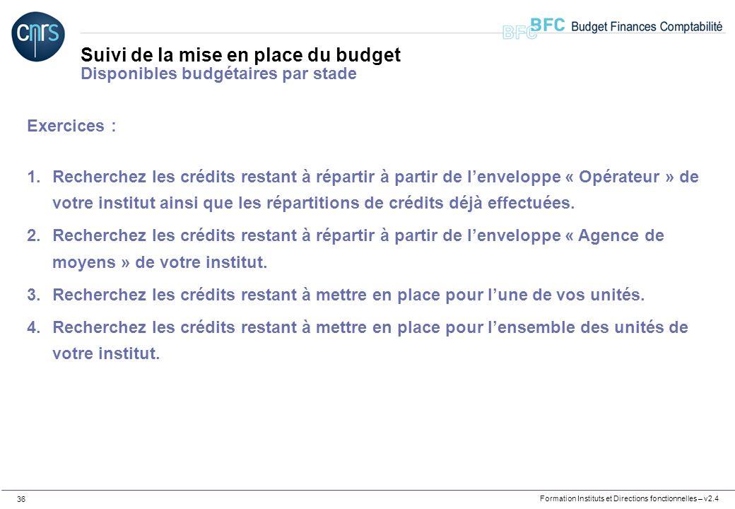 Formation Instituts et Directions fonctionnelles – v2.4 36 Suivi de la mise en place du budget Disponibles budgétaires par stade Exercices : 1.Recherc