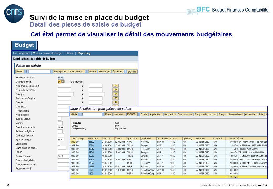 Formation Instituts et Directions fonctionnelles – v2.4 37 Suivi de la mise en place du budget Détail des pièces de saisie de budget Cet état permet d
