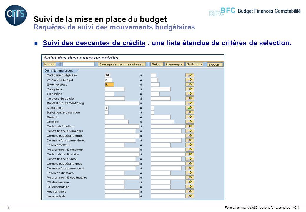 Formation Instituts et Directions fonctionnelles – v2.4 41 Suivi de la mise en place du budget Requêtes de suivi des mouvements budgétaires n Suivi de