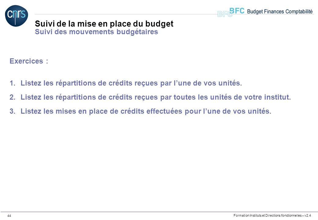 Formation Instituts et Directions fonctionnelles – v2.4 44 Suivi de la mise en place du budget Suivi des mouvements budgétaires Exercices : 1.Listez l