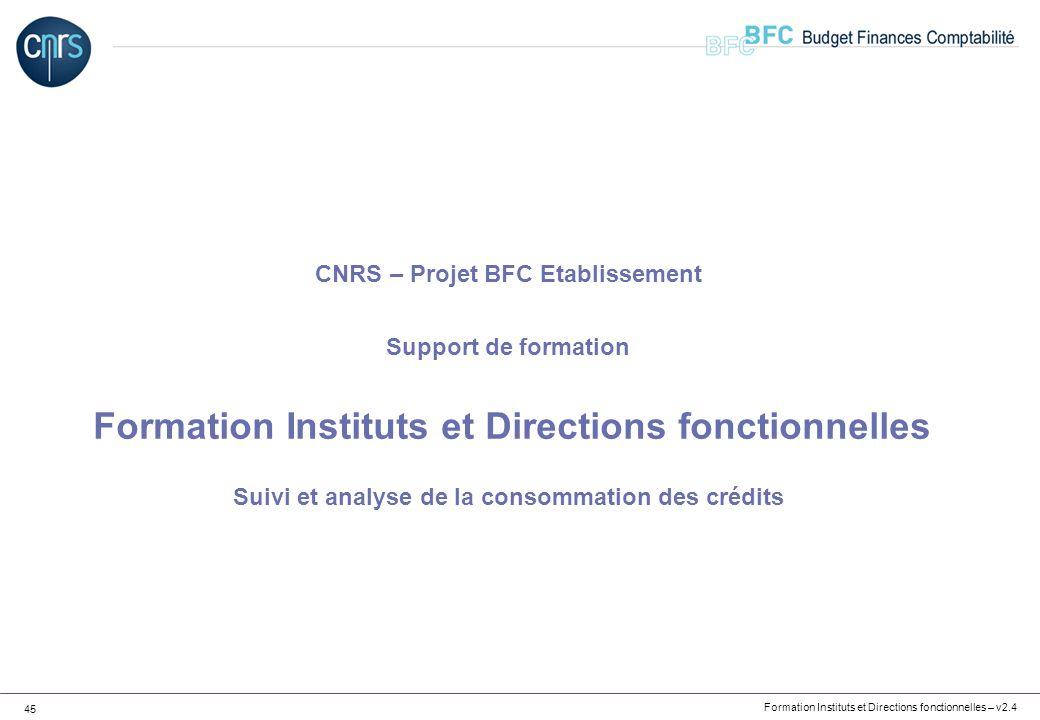 Formation Instituts et Directions fonctionnelles – v2.4 45 CNRS – Projet BFC Etablissement Support de formation Formation Instituts et Directions fonc