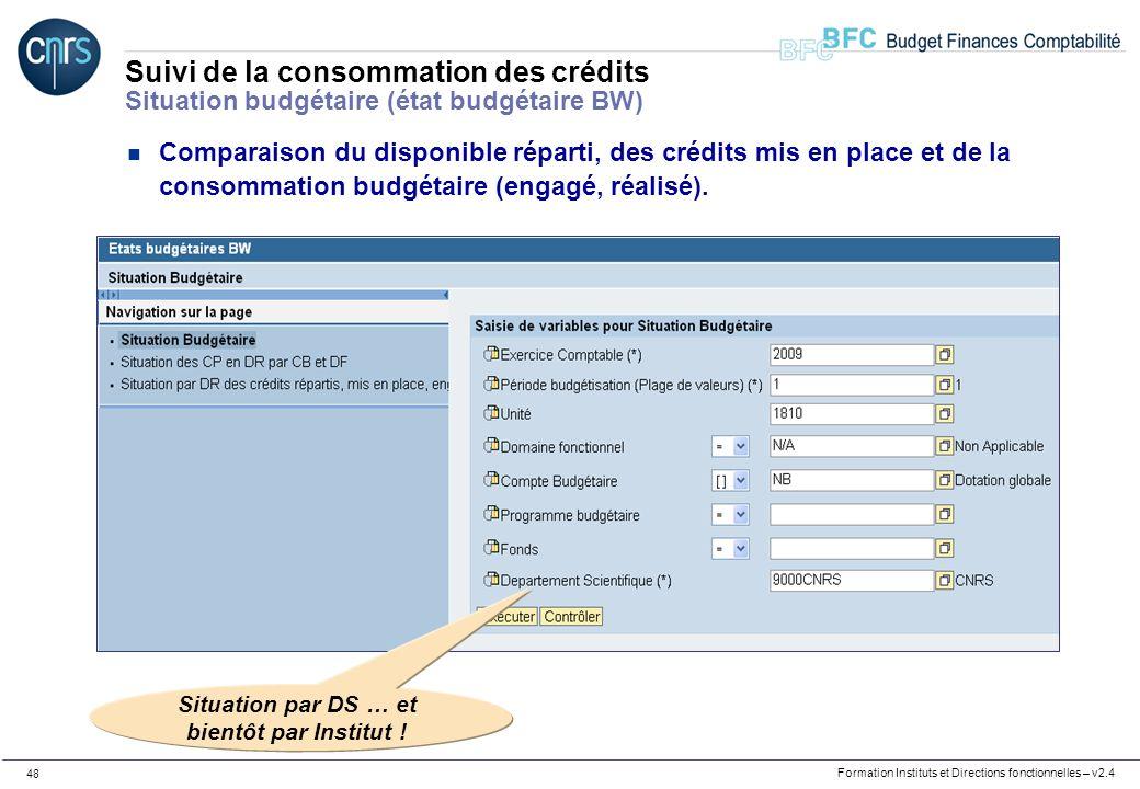 Formation Instituts et Directions fonctionnelles – v2.4 48 Suivi de la consommation des crédits Situation budgétaire (état budgétaire BW) n Comparaiso