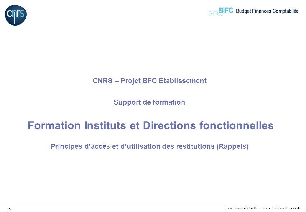 Formation Instituts et Directions fonctionnelles – v2.4 5 CNRS – Projet BFC Etablissement Support de formation Formation Instituts et Directions fonct