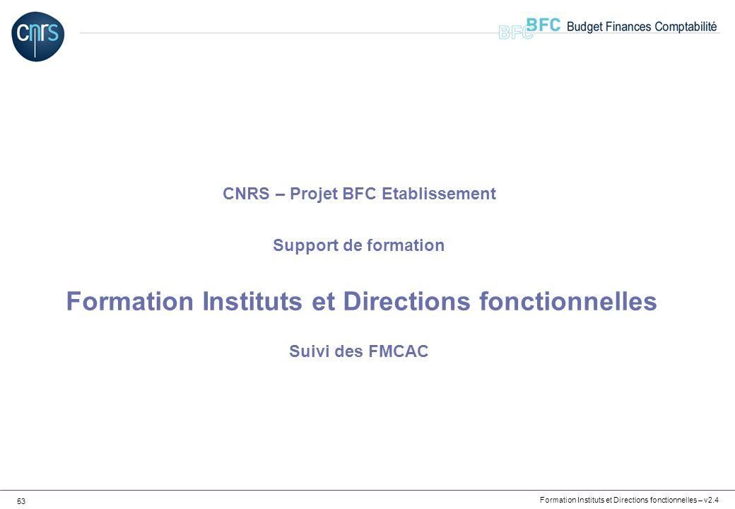 Formation Instituts et Directions fonctionnelles – v2.4 53 CNRS – Projet BFC Etablissement Support de formation Formation Instituts et Directions fonc