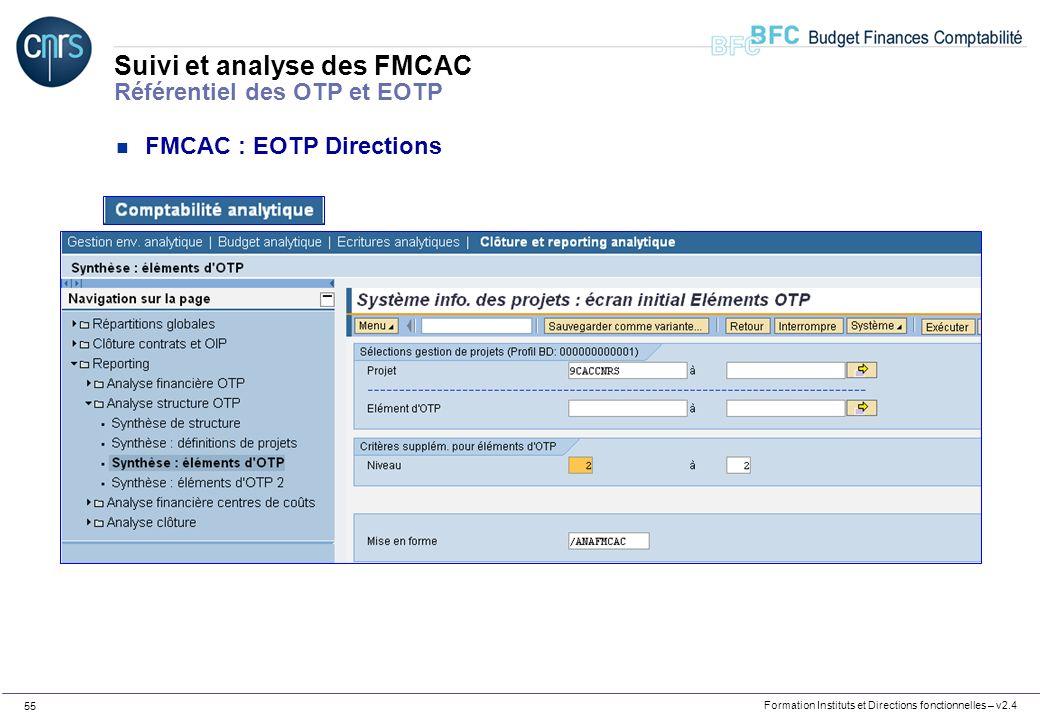Formation Instituts et Directions fonctionnelles – v2.4 55 Suivi et analyse des FMCAC Référentiel des OTP et EOTP n FMCAC : EOTP Directions