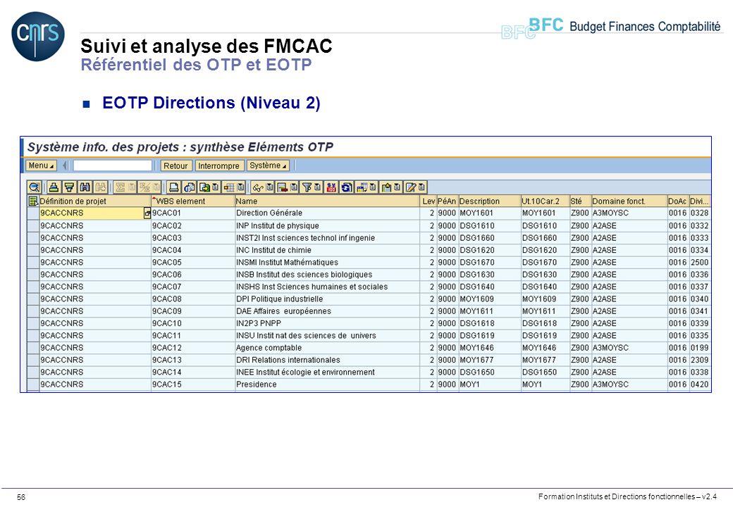 Formation Instituts et Directions fonctionnelles – v2.4 56 Suivi et analyse des FMCAC Référentiel des OTP et EOTP n EOTP Directions (Niveau 2)
