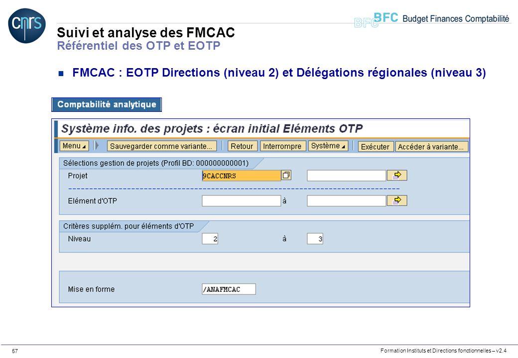 Formation Instituts et Directions fonctionnelles – v2.4 57 Suivi et analyse des FMCAC Référentiel des OTP et EOTP n FMCAC : EOTP Directions (niveau 2)