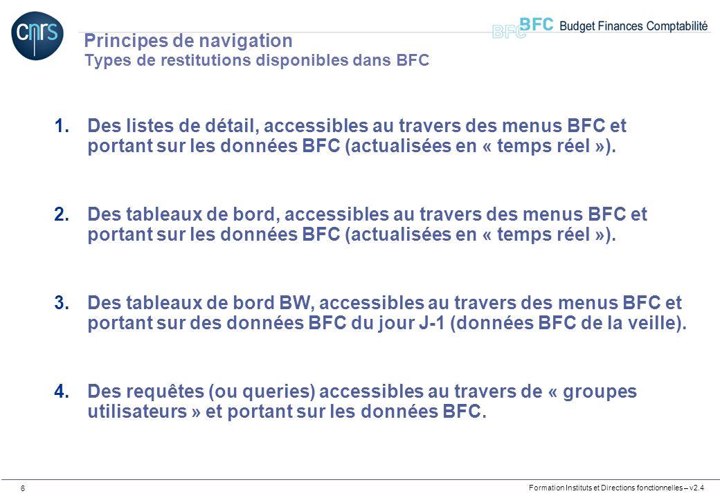 Formation Instituts et Directions fonctionnelles – v2.4 6 Principes de navigation Types de restitutions disponibles dans BFC 1.Des listes de détail, a
