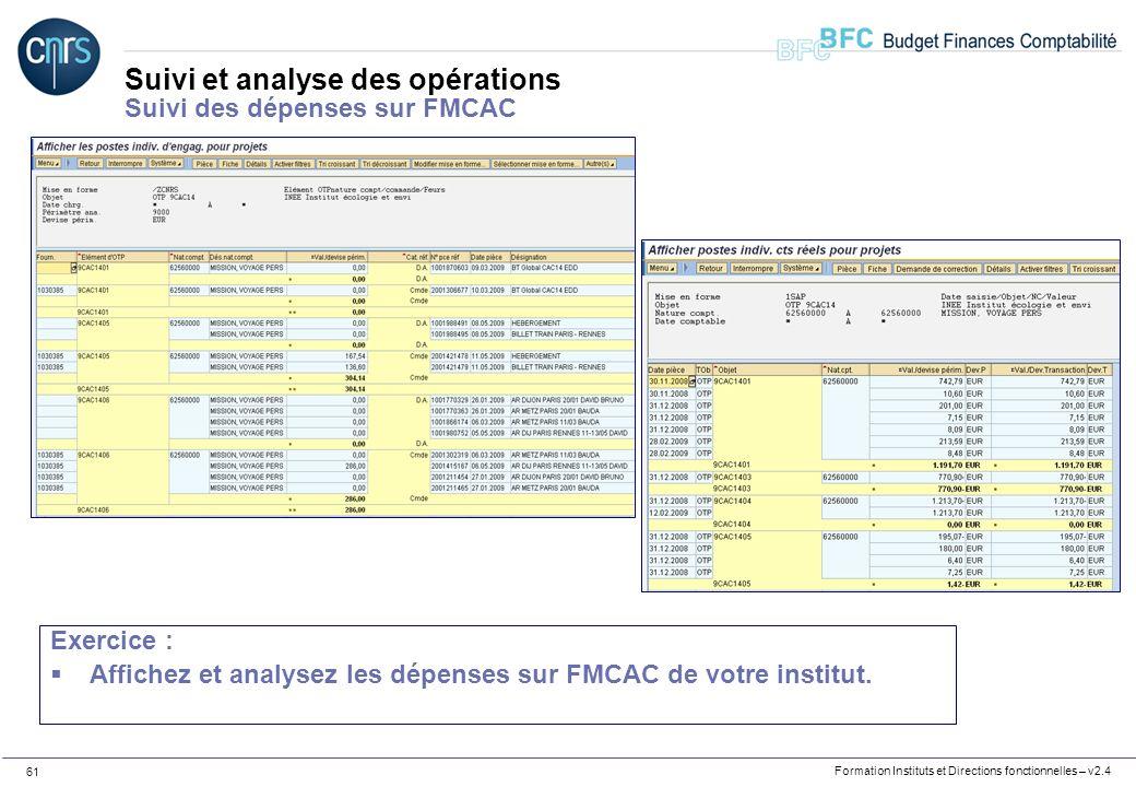 Formation Instituts et Directions fonctionnelles – v2.4 61 Suivi et analyse des opérations Suivi des dépenses sur FMCAC Exercice : Affichez et analyse