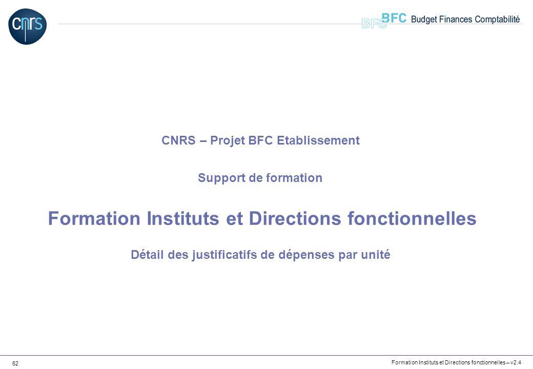 Formation Instituts et Directions fonctionnelles – v2.4 62 CNRS – Projet BFC Etablissement Support de formation Formation Instituts et Directions fonc