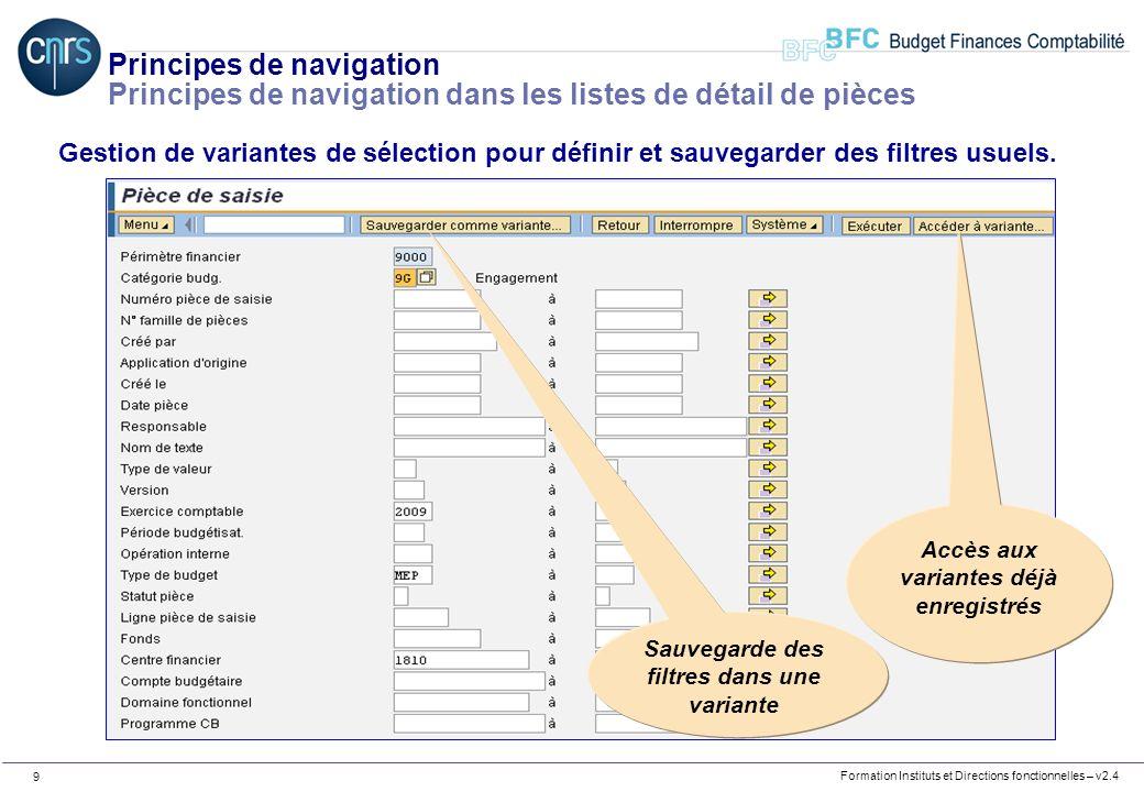Formation Instituts et Directions fonctionnelles – v2.4 9 Principes de navigation Principes de navigation dans les listes de détail de pièces Gestion