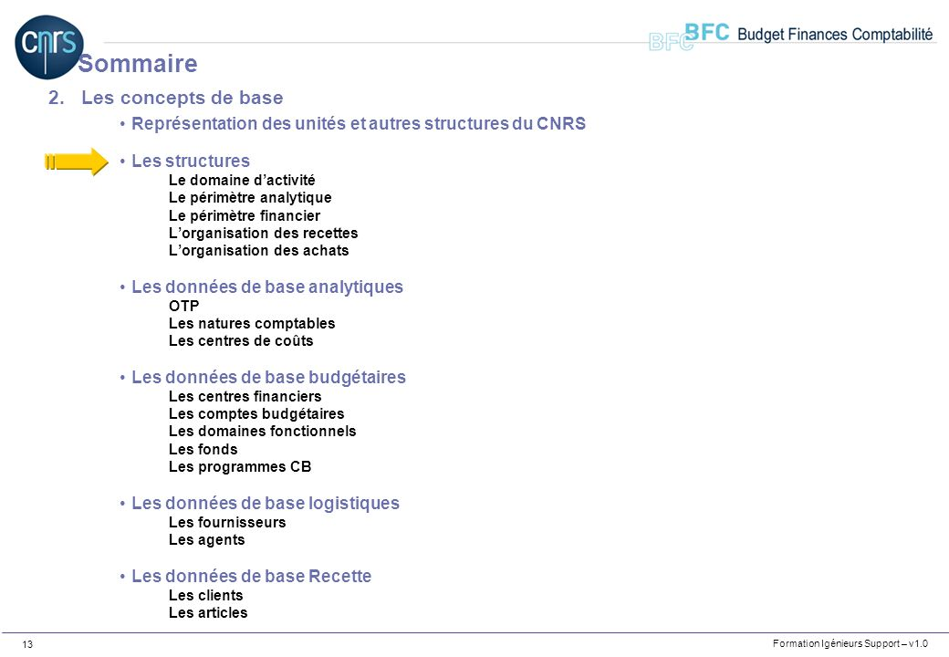 Formation Igénieurs Support – v1.0 13 2.Les concepts de base Représentation des unités et autres structures du CNRS Les structures Le domaine dactivit