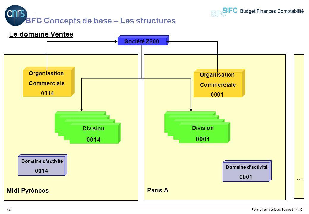 Formation Igénieurs Support – v1.0 16 Le domaine Ventes Paris A Midi Pyrénées Division Labo Division Labo Division Labo Division 0001 Organisation Com