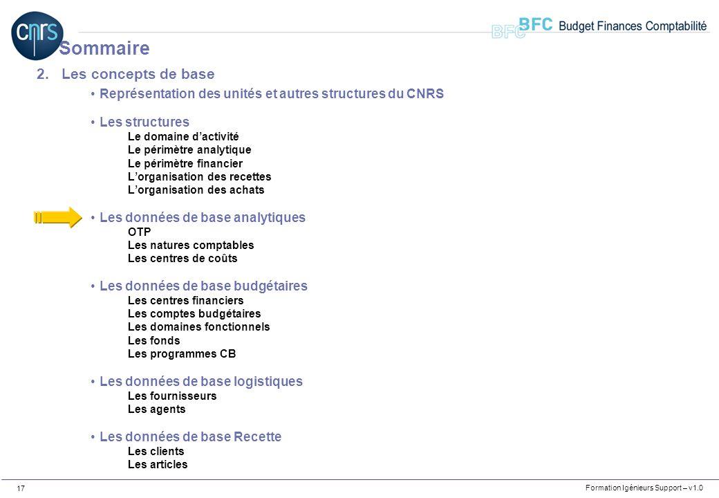 Formation Igénieurs Support – v1.0 17 2.Les concepts de base Représentation des unités et autres structures du CNRS Les structures Le domaine dactivit