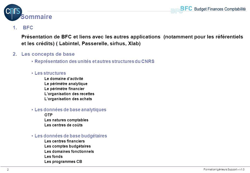 Formation Igénieurs Support – v1.0 2 1. BFC Présentation de BFC et liens avec les autres applications (notamment pour les référentiels et les crédits)
